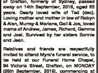 NICHOLSON, Myra of Grafton, formerly of Sydney, passed away on 14th September, 2016, aged 85 years. Dearly loved wife of Ted (dec). Loving mother and mother in law of Robyn & Alan, Murray & Mariane, Gail & Jos, loved mama of Andrew, James, Richard, Gemma and Joel. Survived by her sisters Bonnie and ...