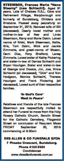 """STEEMSON, Frances Marie """"Nana Steemy"""" (nee Schlecht). Aged 91 years. Late of Chelsea R.S.L..."""