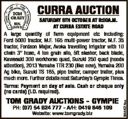CURRA AUCTION TOM GRADY AUCTIONS - GYMPIE PH: (07) 54 824 777 - A/H: 0419 646 109 Website: www.tomgr...