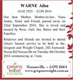 WARNE Ailsa   16.02.1925 - 22.09.2016   Our dear Mother, Mother-in-law, Nana Aunty, Siste...