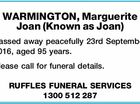 WARMINGTON, Marguerite Joan (Known as Joan)