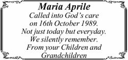 Maria Aprile Called into God's care on 16th October 1989. Not just today but everyday. We s...