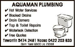 AQUAMAN PLUMBING  Hot Water Services  Blocked Drains  Drain Camera  Tap & Toilet Repairs  Waterl...