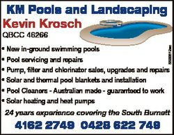 KM Pools and Landscaping Kevin Krosch QBCC 46266 5500512ac * New in-ground swimming pools * Pool ser...