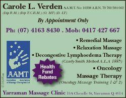 Carole L. Verden A.A.M.T. No: 16398 A.B.N. 79 760 584 062 (Dip R.M.) (Dip T.C.R.M.) (O. MT) (D. LT)...