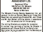 The Warwick Friendly Society Association Ltd. Registered Office 106 Palmerin St, Warwick ABN 68 087 649 447 Notice to Members The Warwick Friendly Society Association Ltd. will conduct the Annual General Meeting on Friday 25th November and accordingly Directors Mr. John Creed and Mr. Alan Balloch retire by rotation in ...