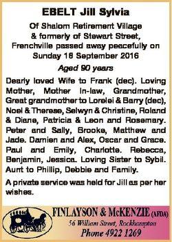 EBELT Jill Sylvia Of Shalom Retirement Village & formerly of Stewart Street, Frenchville passed...
