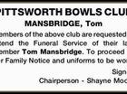 PITTSWORTH BOWLS CLUB