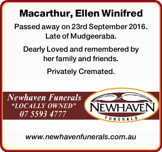 Passed away on 23rd September 2016. Late of Mudgeeraba.