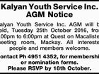Kalyan Youth Service Inc. AGM Notice