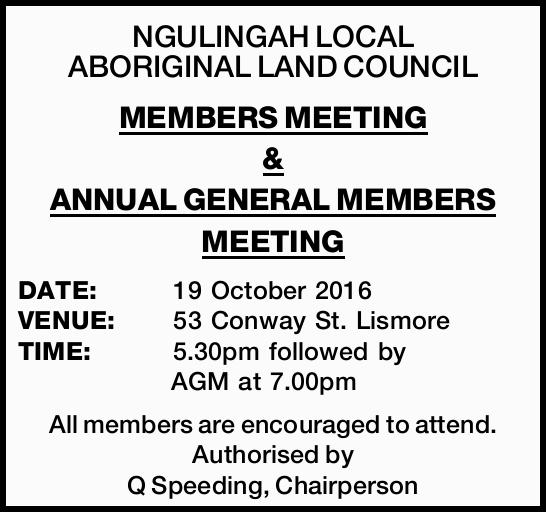 MEMBERS MEETING & ANNUAL GENERAL MEMBERS MEETING