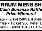BURRUM MENS SHED Cash Bonanza Raffle Prize Winners!