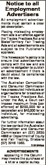 Notice to all Employment Advertisers All employment advertisements must contain a clear job descript...