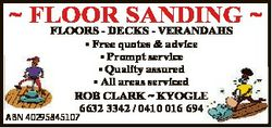 FLOOR SANDING  FLOORS - DECKS - VERANDAHS * Free quotes & advice * Prompt service * Quality assu...
