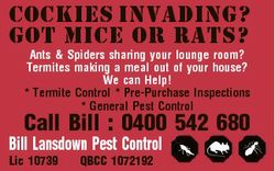 Cockies Invading? Got Mice or Rats? Ants & Spiders sharing your lounge room? Termites making a m...
