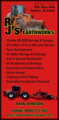 ABN: 89 471 141 315 P.O. Box 443 Gatton, Q 4343 R J's EARTHWORKS * * * * * * * * * * Trimble 3D...