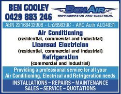 BEN GOOLEY 0429 883 246 ABN 22168432906 - Ln269839C - ARC Auth AU34831 Air Conditioning (residential...