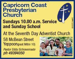 Sundays 10.00 a.m. Service and Sunday School At the Seventh Day Adventist Church 58 McBean Street Ye...