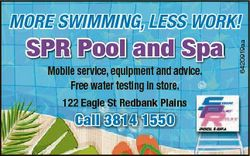 SPR Pool and Spa Mobile service, equipment and advice. Free water testing in store. 122 Eagle St Red...