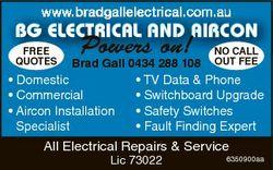 www bradgallelectrical com au www.bradgallelectrical.com.au BG ELECTRICAL AND AIRCON FREE QUOTES Pow...