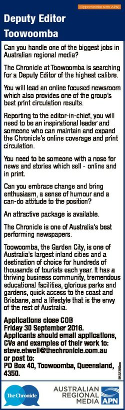 [Opportunities with APN] Deputy Editor Toowoomba Can you handle one of the biggest jobs in Australia...