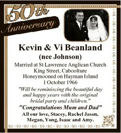 Kevin & Vi Beanland (nee Johnson) Married at St Lawrence Anglican Church King Street, Caboolture...