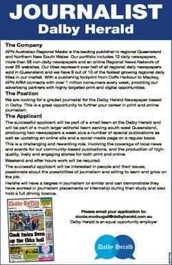 Journalist Dalby Herald The Company APN Australian Regional Media is the leading publisher in region...