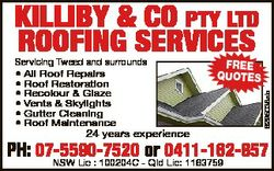 KILLIBY & CO PTY LTD ROOFING SERVICES 24 years experience FREE QUOTES 6295038ab Servicing Tweed...