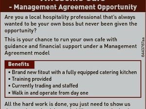 Awesome Cafe - Management Agreement Opportunity This is your chance to run your own cafe with guidance and financial support under a Management Agreement model 6443767aa Are you a local hospitality professional that's always wanted to be your own boss but never been given the opportunity? Benefits * Brand new fitout ...