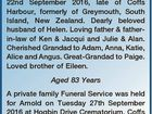 GREEN, Arnold 22nd September 2016, late of Coffs Harbour, formerly of Greymouth, South Island, New Zealand. Dearly beloved husband of Helen. Loving father & fatherin-law of Ken & Jacqui and Julie & Alan. Cherished Grandad to Adam, Anna, Katie, Alice and Angus. Great-Grandad to Paige. Loved brother of Eileen. Aged 83 Years A ...