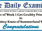 Winner of Week 1 Get Grubby Prize Pack is: Destiny Kratz of Summerland Way Congratulations