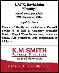 """LACK, David John """"Deadly"""" Passed away peacefully, 24th September, 2016. Aged 61 Years Frie..."""