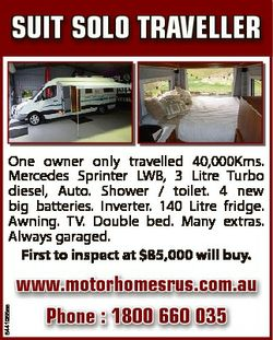 One owner only travelled 40,000Kms. Mercedes Sprinter LWB, 3 Litre Turbo diesel, Auto. Shower / t...