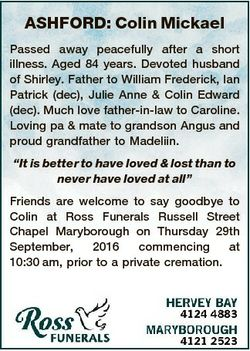ASHFORD: Colin Mickael Passed away peacefully after a short illness. Aged 84 years. Devoted husband...