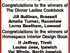QT Magazine Lifestyle Book Competition Congratulations to the winners of The Dinner Ladies Cookbook Jill Sullivan, Brassall Amelia Turner, Raceview Lorna Beetham, Lowood Congratulations to the winners of Homespace Interior Design Book H Jeffrey, Tivoli Louise Jess, Ipswich Val Whyte, North Ipswich Winners have been notified.