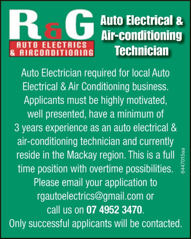 Auto Electrician required for local Auto Electrical & Air Conditioning business. Applicants m...