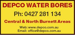 DEPCO WATER BORES Ph: 0427 281 134 Central & North Burnett Areas Web: www.depco.com.au Email: of...