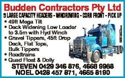 Budden Contractors Pty Ltd * 49ft Mega Tilt * Deck Widening Low Loader to 3.5m with Hyd Winch * Grav...