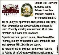 6446323aa Granite Belt Brewery at Happy Valley Retreat have two positions available for immediate st...