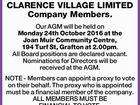 NOTICE TO CLARENCE VILLAGE LIMITED Company Members.