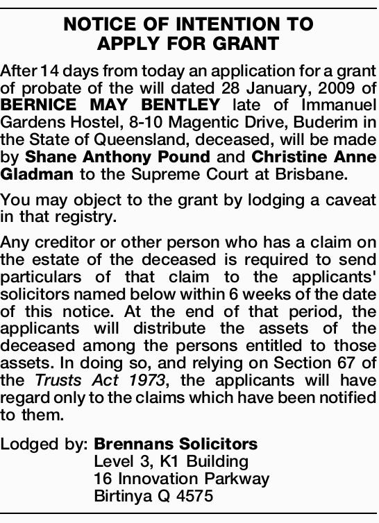 After 14 days from today an application for a grant of probate of the will dated 28 January, 2009...