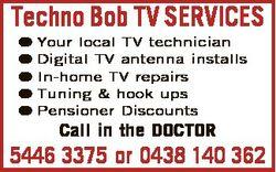 Techno Bob TV SERVICES Your local TV technician Digital TV antenna installs In-home TV repairs Tunin...