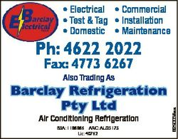 * Electrical * Commercial * Test & Tag * Installation * Domestic * Maintenance Ph: 4622 2022 Fax...