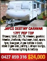 6441463aa JAYCO DESTINY CARAVAN 17FT POP TOP Shower, toilet, CD, TV, m/wave, gas/elec h/water, 2 s/b...
