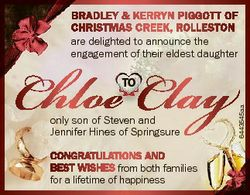 Bradley & Kerryn Piggott of Christmas CreeK, rolleston are delighted to announce the engagement...