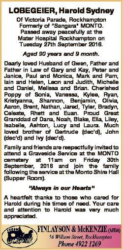 "LOBEGEIER, Harold Sydney Of Victoria Parade, Rockhampton Formerly of ""Sangara"" MONTO. Pass..."