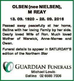 OLSEN (nee NIELSEN), M REAY 13. 09. 1920  28. 09. 2016 Passed away peacefully at her home, Ballina w...