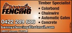 bennysfencing@hotmail.com QBCC Licence 1161486 5474920ac 0422 289 686 Timber Specialist * Colorbond...