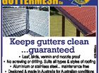 Trading Co Keeps gutters clean ...guaranteed 6087996ab GUTTERMESH * Leaf, birds, vermin and mozzie proof * No screwing or drilling. Suits all types & styles of roofing * Aluminium or stainless steel... maintenance free * Designed & made in Australia for Australian conditions * In business for over 20 years by aby15a 15 year warranty AndBacked all ...
