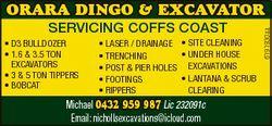 SERVICING COFFS COAST * D3 BullDozer * 1.6 & 3.5 Ton excavaTors * 3 & 5 Ton Tippers * BoBcaT...